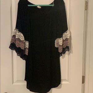 Black Mini Dress with Lace Sleeve Detail